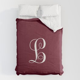 Monogram Letter L on Dark Maroon Comforters