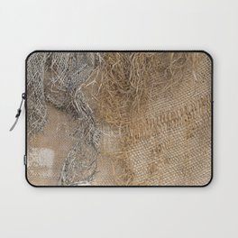 textured jute fabric for background and texture Laptop Sleeve