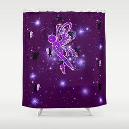 Power Purple For a Cure - Fairy Dust Shower Curtain