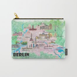 Berlin Germany Illustrated Map with Main Roads Landmarks and Highlights Carry-All Pouch