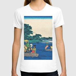 12,000pixel-500dpi Utagawa Hiroshige - 53 Stations of the Tokaido - Kawasaki, Passage boat of Rokugo T-shirt