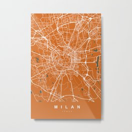 Milan Italy Map | Coffee & Green | More Colors, Review My Collections Metal Print