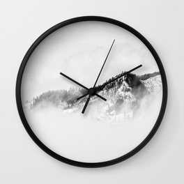 Minimalist Ominous Forest Mountain Foggy Misty Black And White Photo Wall Clock