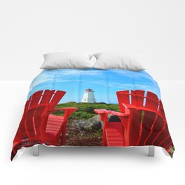 Lighthouse and chairs in Red White and Blue Comforters