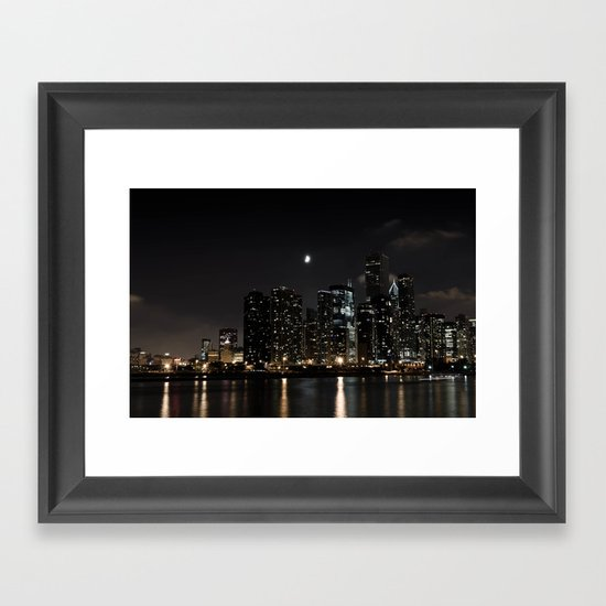 Moonlit Chicago Skyline Framed Art Print