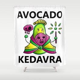 Avocado Kedavra - Death Eater Avocado with Wand Shower Curtain