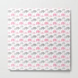 Pink Gray Elephant Baby Girl Nursery Metal Print