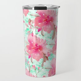 Hot pink turquoise hand painted watercolor floral Travel Mug