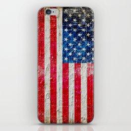 Distressed American Flag On Old Brick Wall - Horizontal iPhone Skin