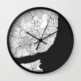 Lisbon Map Gray Wall Clock