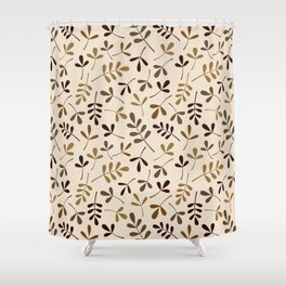 Assorted Leaf Silhouettes Gold Browns Cream Ptn Shower Curtain