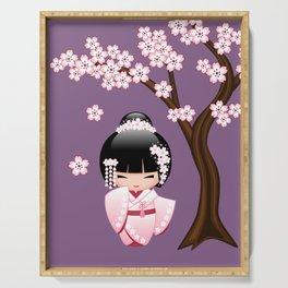 Japanese Bride Kokeshi Doll on Purple Serving Tray