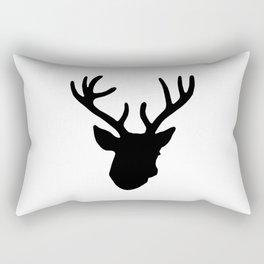 Deer Head: Black Rectangular Pillow