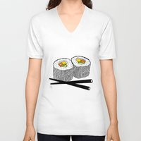 sushi V-neck T-shirts featuring Sushi by Amber Lily Fryer