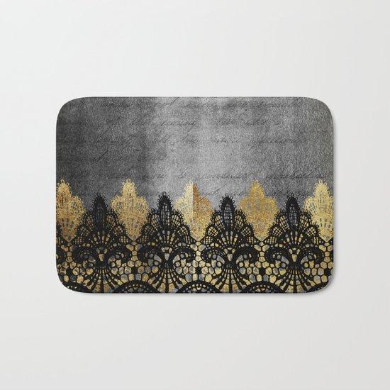 Pure elegance II - Luxury Gold and black lace on grunge dark backround Bath Mat