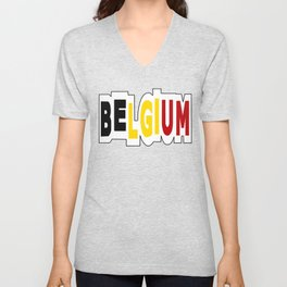 Belgium Font #1 with Belgian Flag Unisex V-Neck