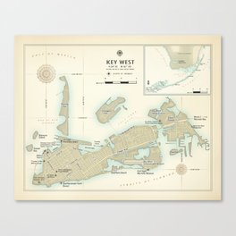 """Key West """"vintage inspired"""" road map Canvas Print"""