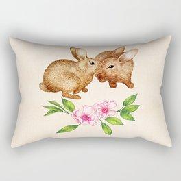 Vintage Rabbit Pair in Spring Rectangular Pillow