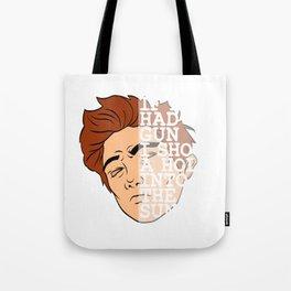 "A Unique Half Face Design Illustration Of A Man ""If I Had A Gun I Shoot A Hole Into The Sun"" T-shirt Tote Bag"