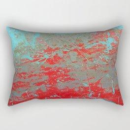 texture - aqua and red paint Rectangular Pillow