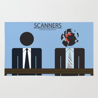 movie poster Area & Throw Rugs featuring Scanners - Altenative Movie Poster by maclac