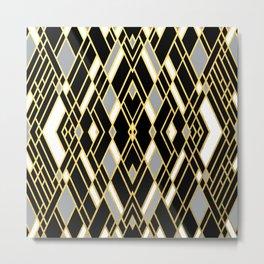 Art Deco Grey Gold Metal Print