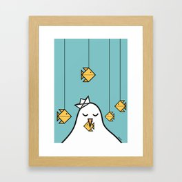 The Seagull and The Origami Fishes Framed Art Print