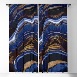 Blue Gold Marble Low Poly Geometric Triangle Art Blackout Curtain