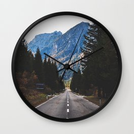 road, marking, mountains, trees Wall Clock