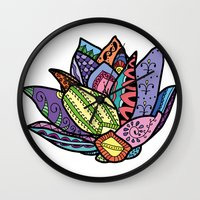 lotus flower Wall Clocks featuring Lotus by Ilse S