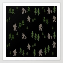 Sasquatch forest woodland mythic animal nature pattern cute kids design forest Art Print