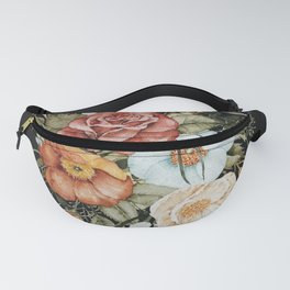 Roses and Poppies Bouquet on Charcoal Black Fanny Pack