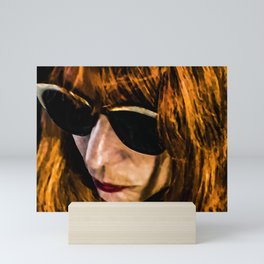 Adult Woman with Glasses Portrait Illustration Mini Art Print