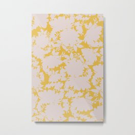 light floral silhouette on gold Metal Print