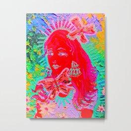 Neon Butterfly Queen Metal Print