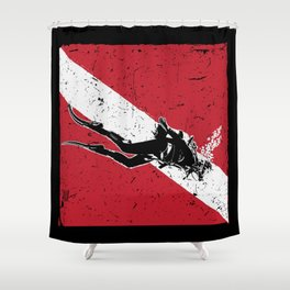 Scuba Dive Flag Shirt Scuba Diving Tee Shirts & Gift Shower Curtain