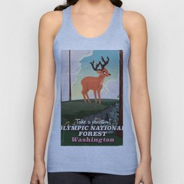 Olympic National Forest vintage cartoon travel poster Unisex Tank Top