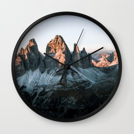 Dolomites sunset panorama - Landscape Photography Wall Clock