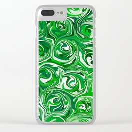 Emerald Green, Green Apple, and White Paint Swirls Clear iPhone Case