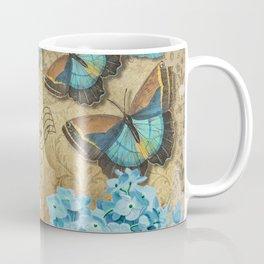 Blue Flowers and Butterflies Coffee Mug