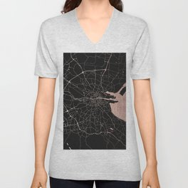 Black on Rosegold Dublin Street Map Unisex V-Neck