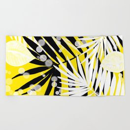 Black and White Tropical Leaves Beach Towel