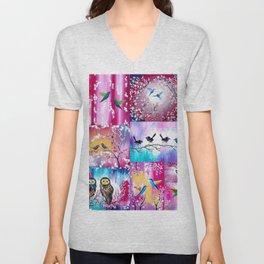 Pink collage Unisex V-Neck