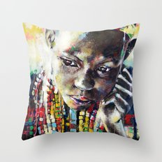 Reverie - Ethnic African portrait Throw Pillow