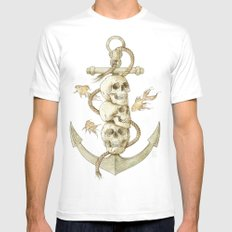 Three Missing Pirates White MEDIUM Mens Fitted Tee