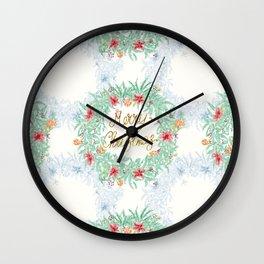 Merry Christmas Garland Wall Clock