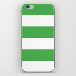 Even Horizontal Stripes, Green and White, XL iPhone Skin
