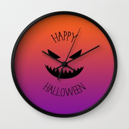 Happy Halloween - Orange and Purple Wall Clock