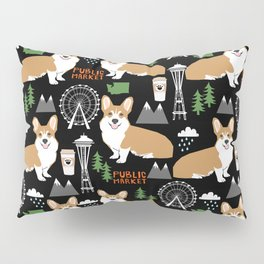 Corgi in Seattle - cute corgi dogs coffee, space needle, ferris wheel print Pillow Sham