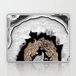 Gray Black White Agate with Gold Glitter #1 #gem #decor #art #society6 Laptop & iPad Skin